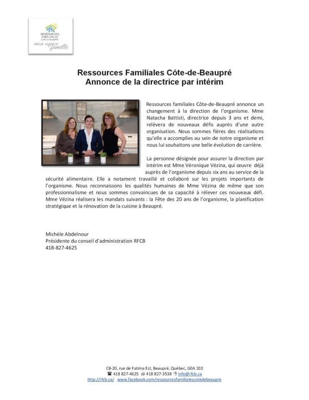 Communiqué RFCB et Direction (Michèle)