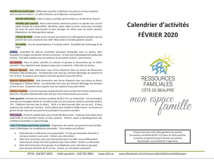 Calendrier février 20201