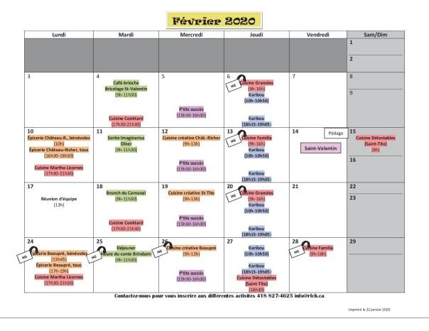 Calendrier février 20202