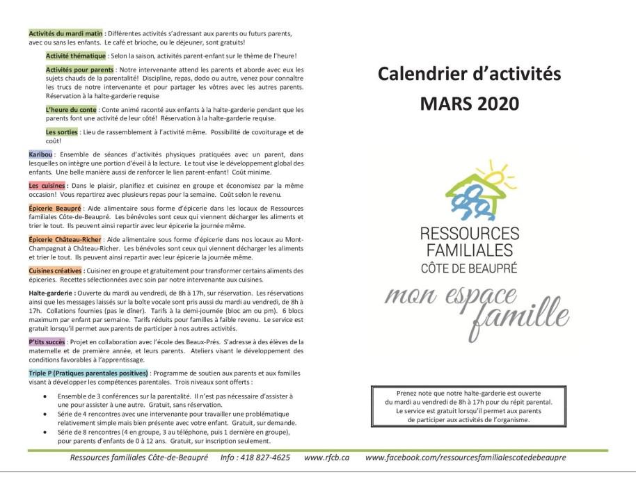 Calendrier mars 20201