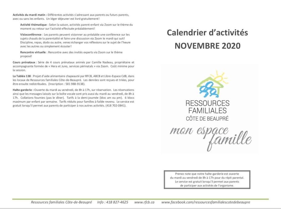 Calendrier nov 20201