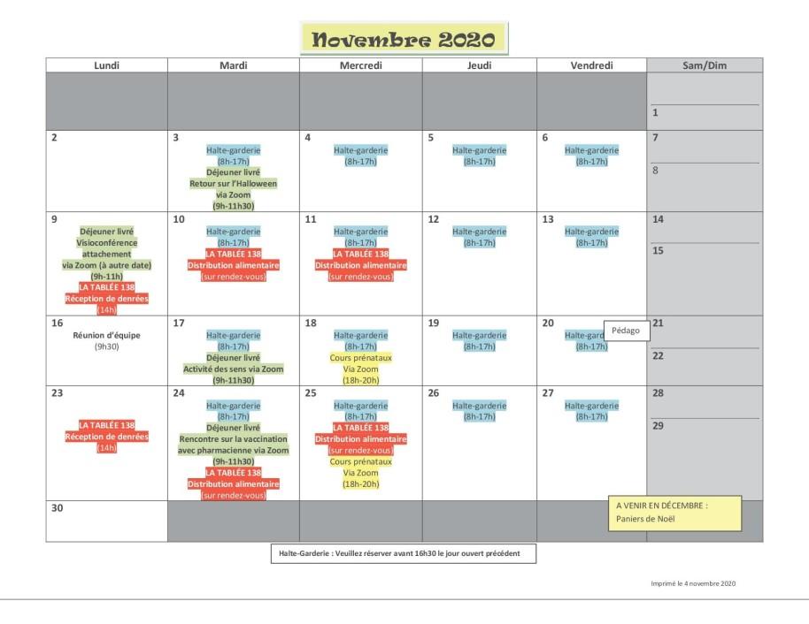 Calendrier nov 20202