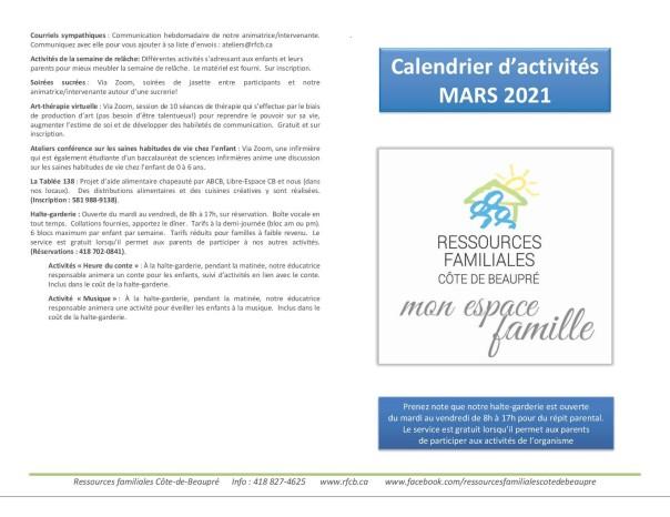 Calendrier mars 20211