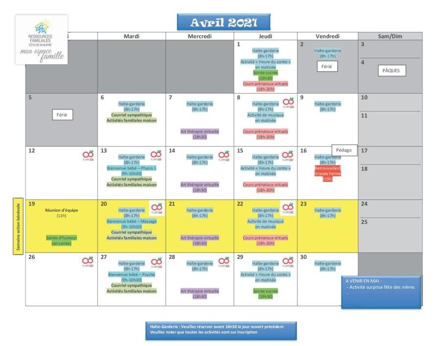 Calendrier RFCB avril 2021