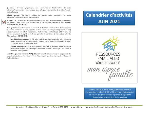 Calendrier RFCB 2021-061